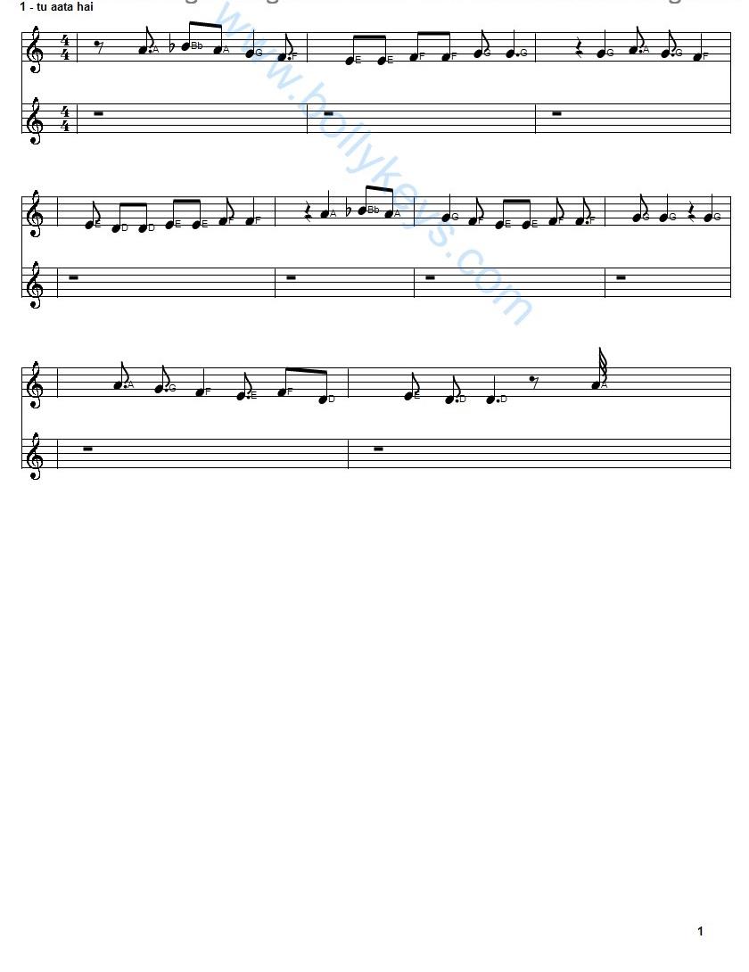 Learn To Play Kaun Tujhe Sheet Music Free